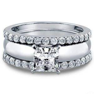 925 Sterling Silver 3pcs White Sapphire Ring Set
